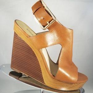 MICHAEL Michael Kors Brown Leather Wedge Sandal